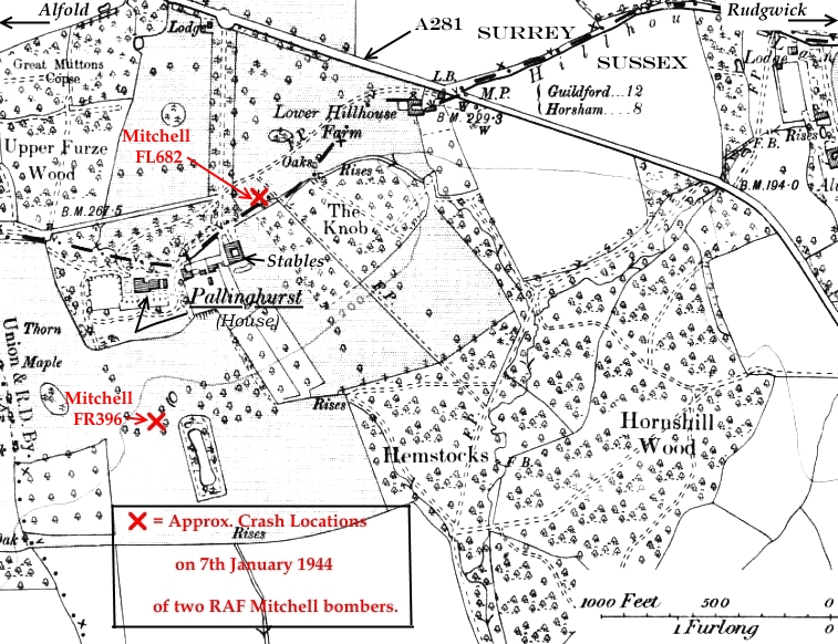 C:\Users\Frank\Pictures\z011 Dunsfold Airfield and crashes and incidents thereon\Pallinghurst House\Maps and Plans\Map of Pallinghurst showing crash location of 2 RAF MItchell bombers.JPG