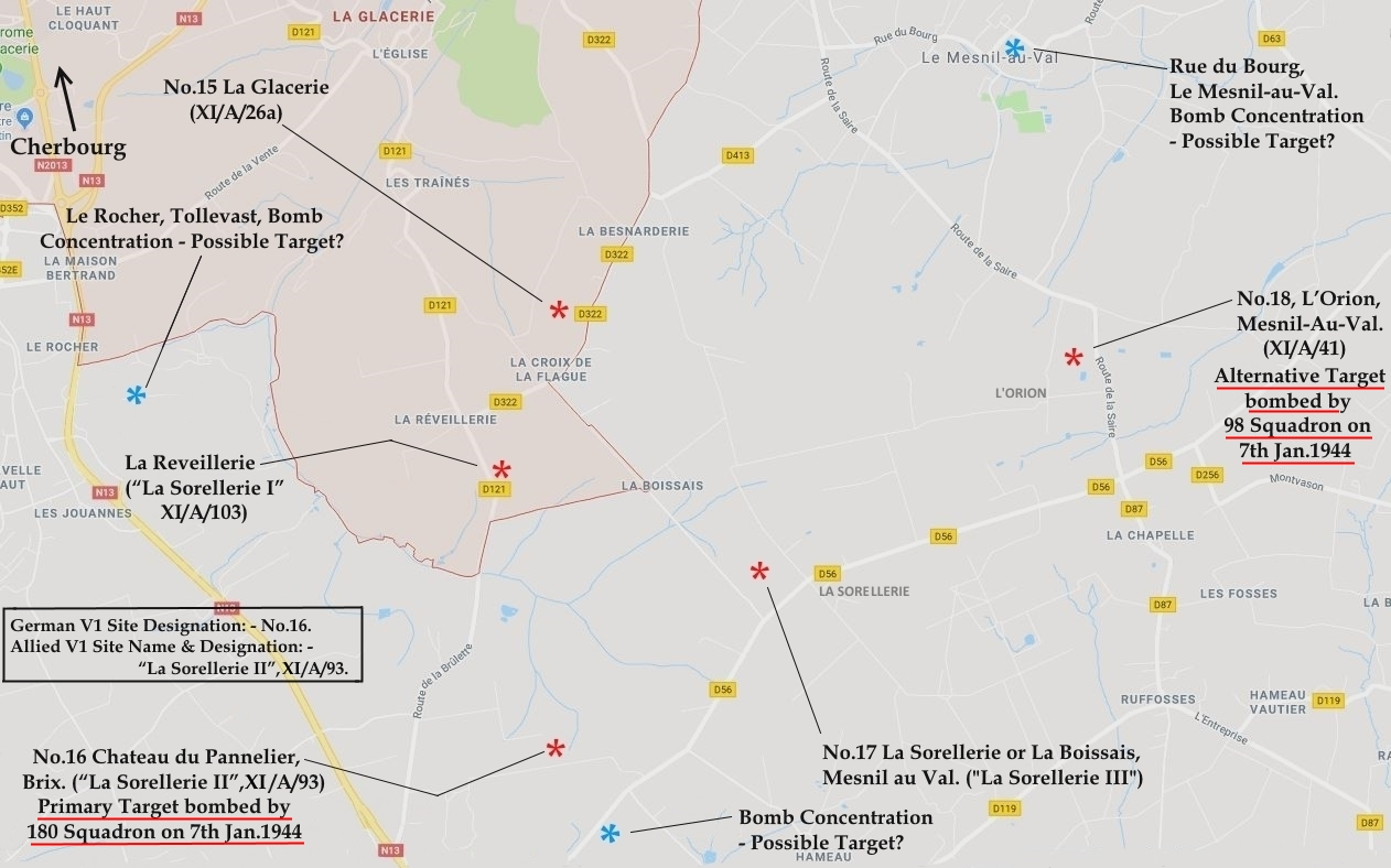 C:\Users\Frank\Pictures\z011 Dunsfold Airfield and crashes and incidents thereon\Pallinghurst House\V1 Target Photos\V1 Sites Normandy Map - Copy.JPG