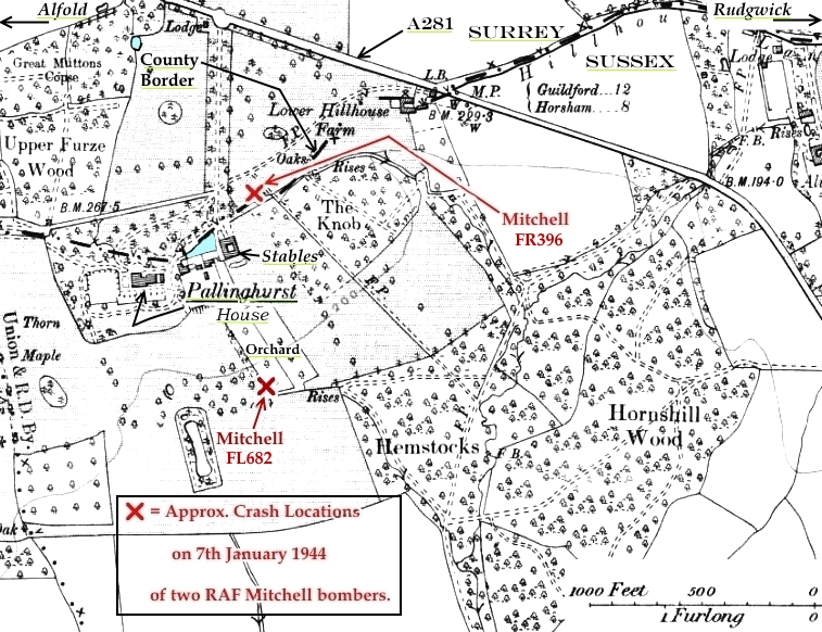 C:\Users\Frank\Pictures\z011 Dunsfold Airfield and crashes and incidents thereon\Pallinghurst House\3rd Map Revision for 2nd Revision Crash location of 2 RAF MItchell bombers at Pallinghurst 7th Jan 1944 (2).JPG