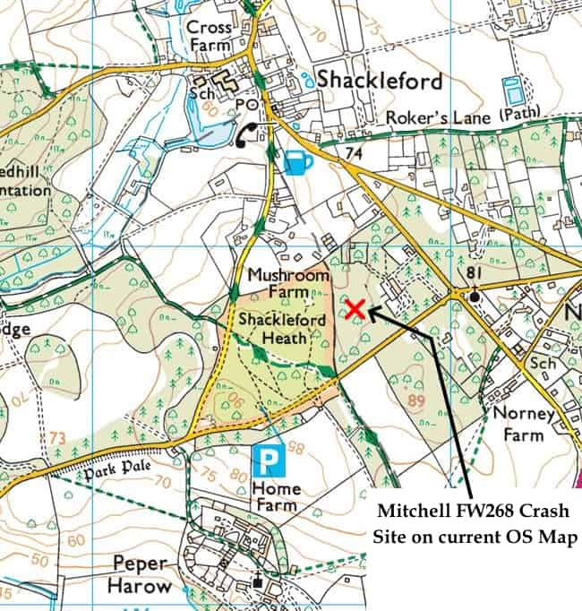 C:\Users\Frank\Pictures\z011 Dunsfold Airfield and crashes and incidents thereon\z058 Mitchell Crash 30.8.44 Shackleford\Crash Site Mitchell 30.8.44 Shackleford, Present Day Map.JPG